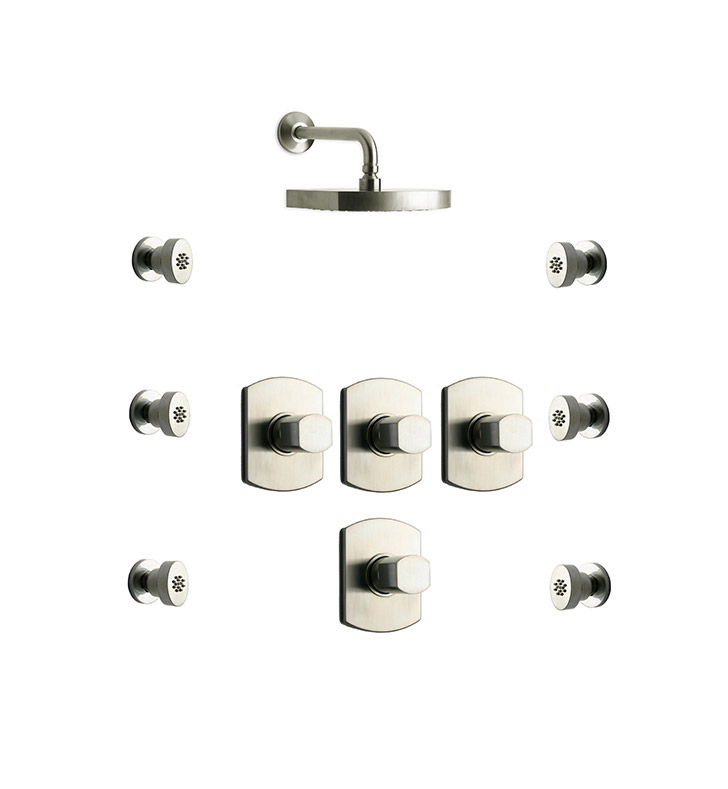 LaToscana NO-OPTION-5VC Novello 5VC Shower System with Showerhead and 6 Body Jets