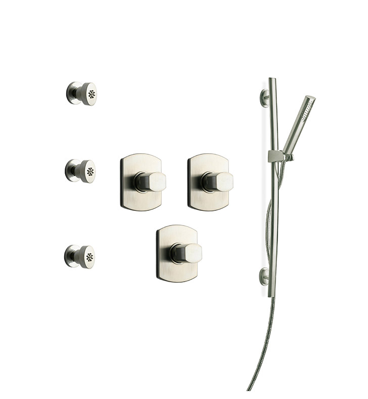 LaToscana NO-OPTION-6VC Novello 6VC Shower System with Slidebar, Handshower and 3 Body Jets