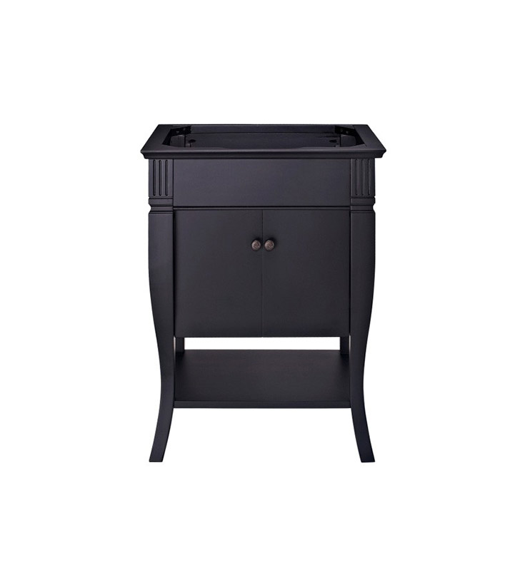 "Ryvyr V-COLORADO-DR24BK COLORADO 24"" Modern Bathroom Vanity with Doors in Black Finish"