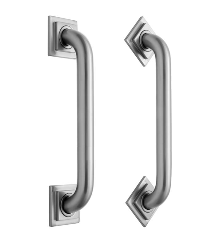 "Jaclo 2712-SB Cubix 12"" Wall Mount Grab Bar with Contemporary Square/Diamond Flange With Finish: Satin Brass"