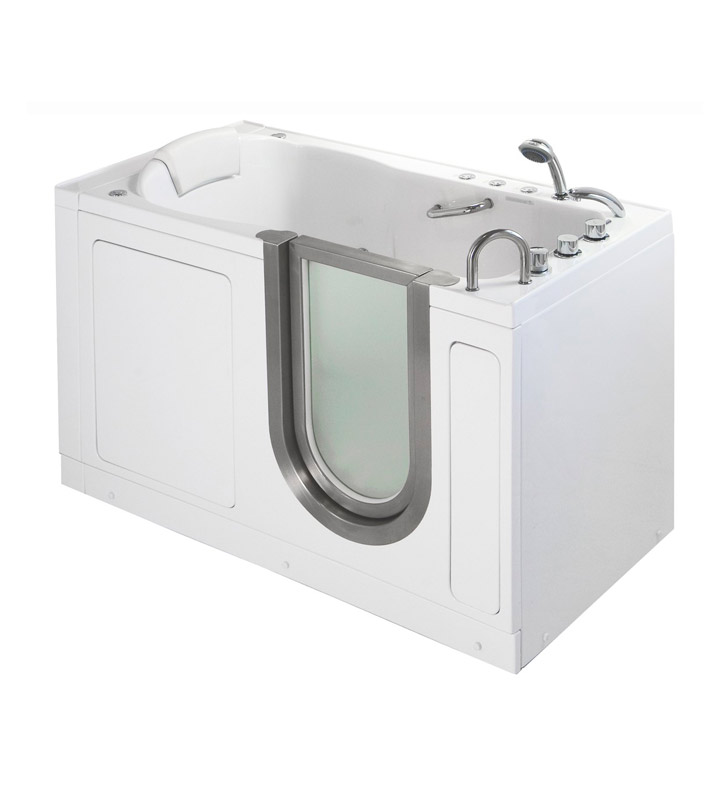 Ella 93058 Deluxe Dual Air and Hydro Massage Walk In Tub With Drain Position: Right Side Drain/Door