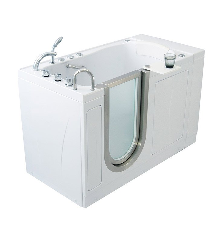 Ella 93107 Elite Dual Air and Hydro Massage Walk In Tub With Drain Position: Left Side Drain/Door