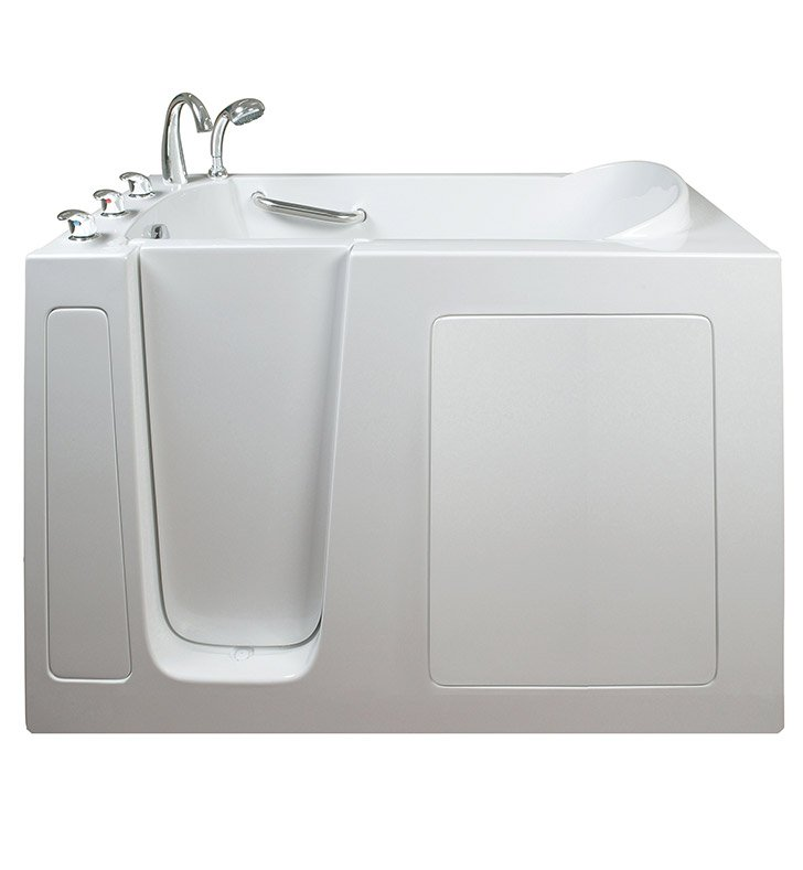 Ella 265303L Narrow 26 inch Walk In Bathtub With Jet Mode: Hydro Massage And Drain Position: Left Side Door/Drain