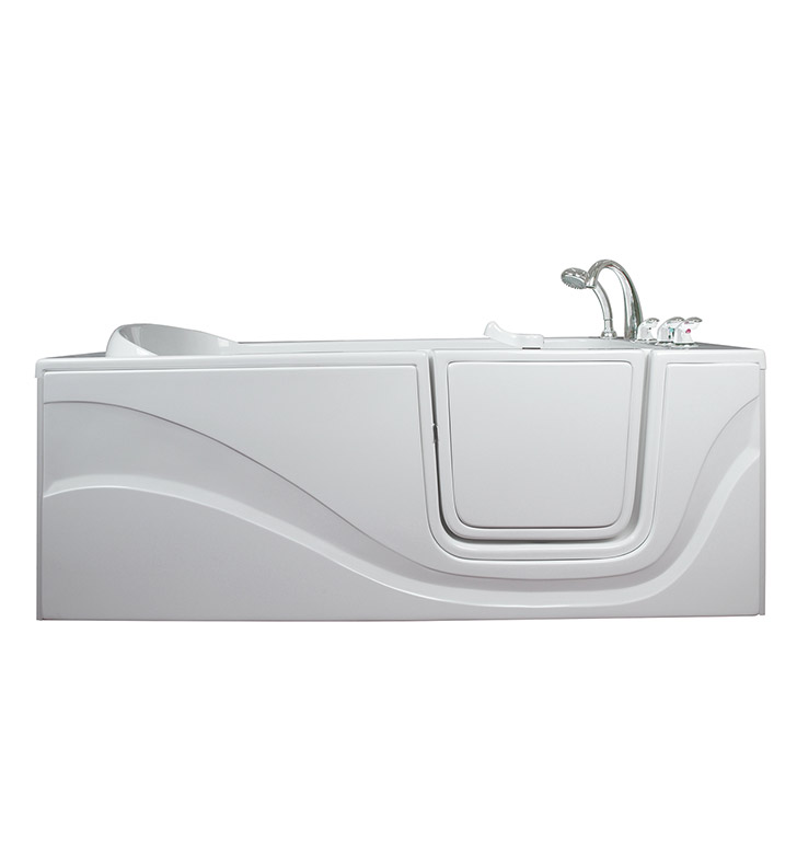 "Ella 306001R Lay Down Gel Coat 60"" Walk In Bathtub With Jet Mode: Soaking (No Jets) And Drain Position: Right Side Door/Drain"