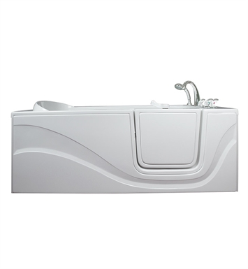 "Ella 306003L Lay Down Gel Coat 60"" Walk In Bathtub With Jet Mode: Hydro Massage And Drain Position: Left Side Door/Drain"