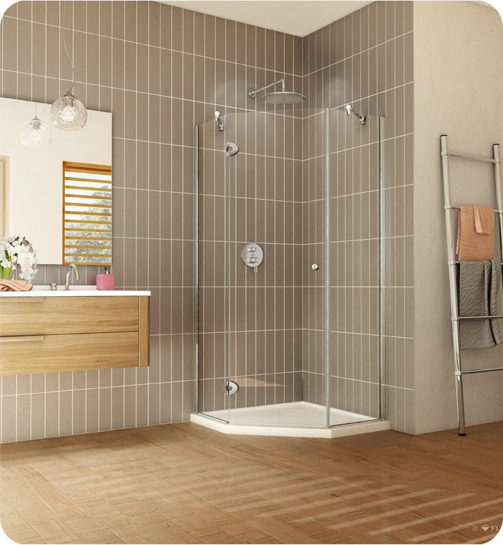 "Fleurco PNA36-25-40R-T  Platinum Neo Angle 36"" Single Shower Door With Hardware Finish: Brushed Nickel And Glass Type: Clear Glass And Door Direction: Right And Shower Door Hinges: Square And Microtek Glass Protection: 3 Panels"
