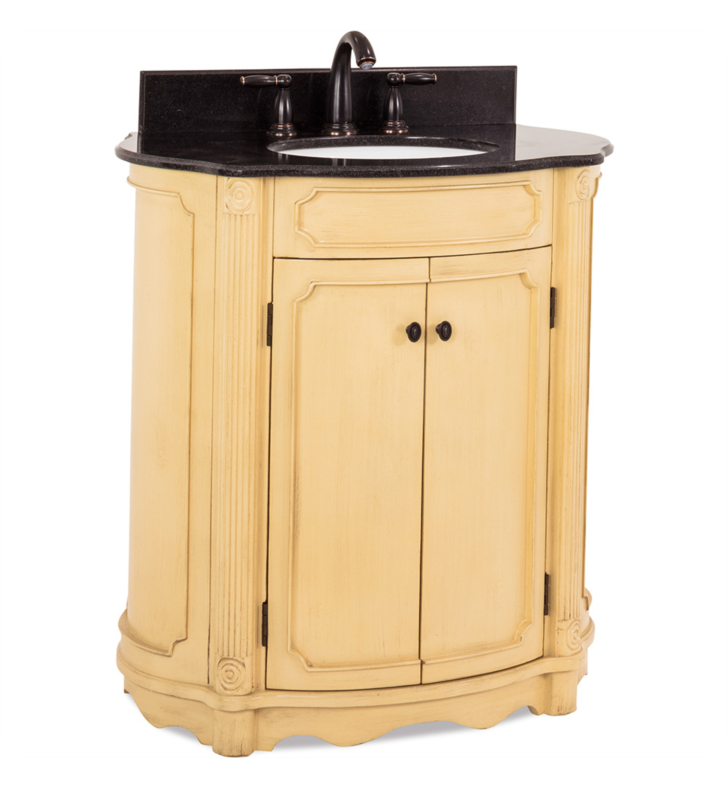 Hardware Resources VAN014-T Tesla Buttercream Vanity with Preassembled Top and Bowl by Bath Elements