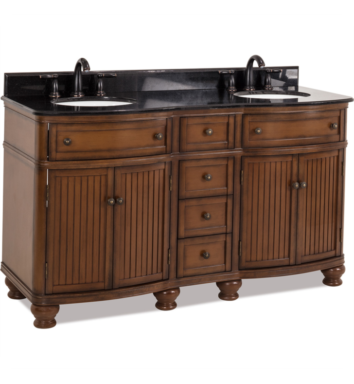 Hardware Resources VAN029D-60-T Compton Walnut Double Vanity with Preassembled Top and Bowls by Bath Elements