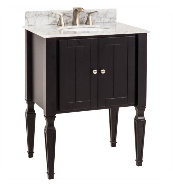 Hardware Resources VAN049-T-MW Jensen Black Vanity with Preassembled Top and Bowl by Bath Elements