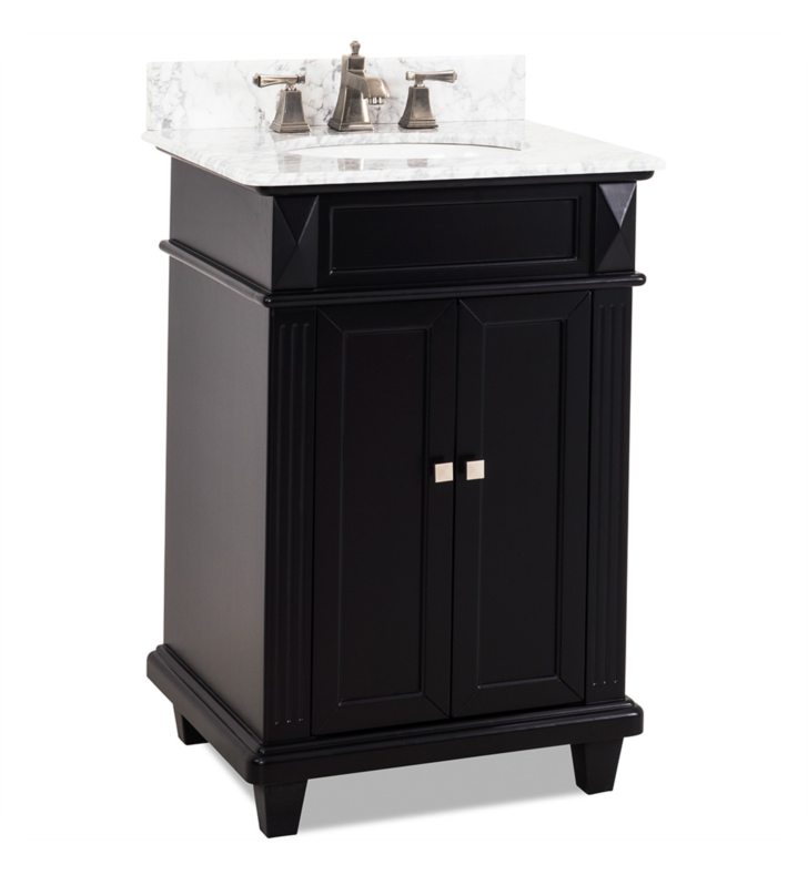 Hardware Resources VAN057-T-MW Douglas Black Vanity with Preassembled Top and Bowl by Bath Elements