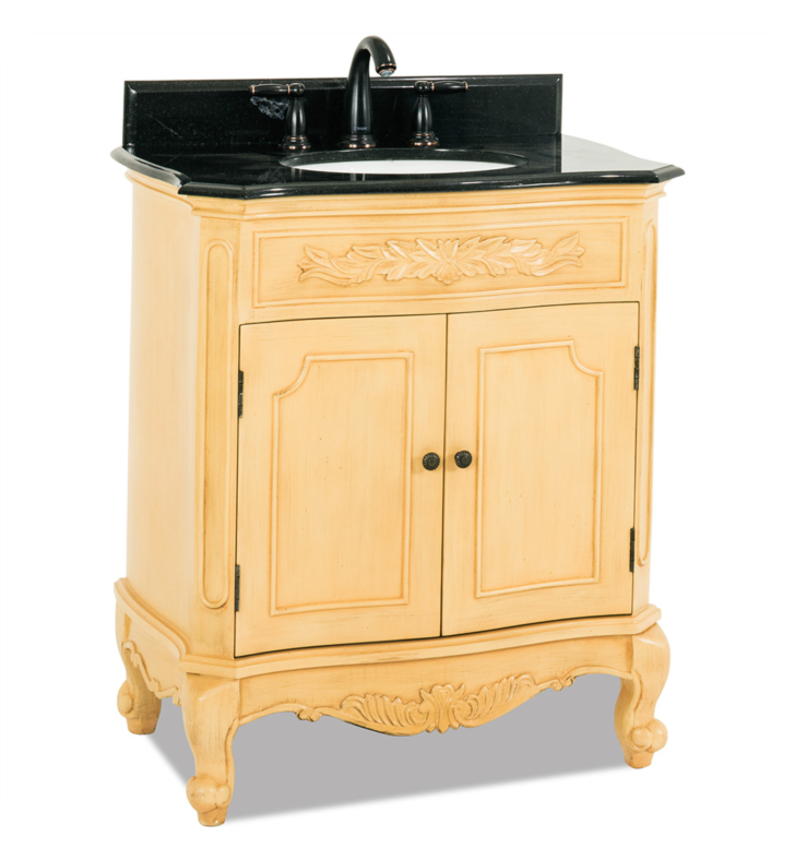 Hardware Resources VAN061-T Clairemont Buttercream Vanity with Preassembled Top and Bowl by Bath Elements