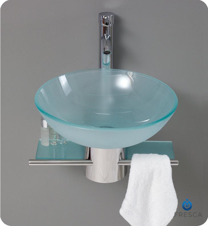 Fresca Fvn1012 Cristallino 18 Modern Glass Bathroom Vanity With