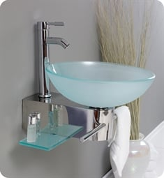 "Fresca FVN1012 Cristallino 18"" Modern Glass Bathroom Vanity with Frosted Vessel Sink"