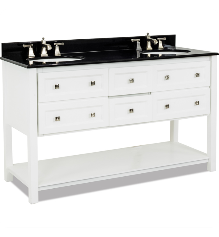 Hardware Resources VAN066D-60-T Adler White Double Vanity with Preassembled Top and Bowls by Bath Elements