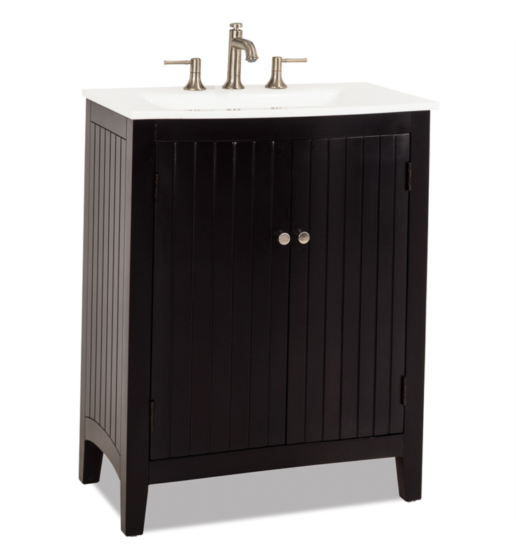 Hardware Resources VAN068-T-PW Dalton Espresso Vanity with Preassembled Integrated White Porcelain Top and Bowl by Bath Elements
