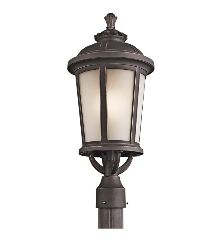 Kichler 49413RZ Ralston 1 Light Incandescent Outdoor Post Mount Lantern in Rubbed Bronze