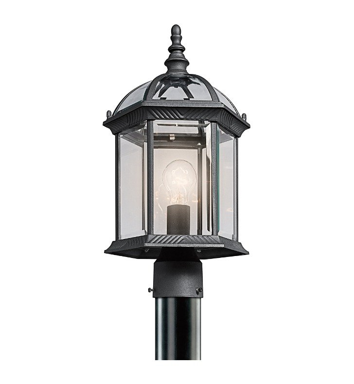 Kichler 49187BK Barrie Collection Outdoor Post Mount 1 Light in Black