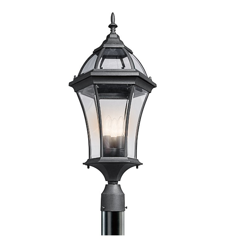 Kichler 49188BK Townhouse Collection Outdoor Post Mount 3 Light in Black