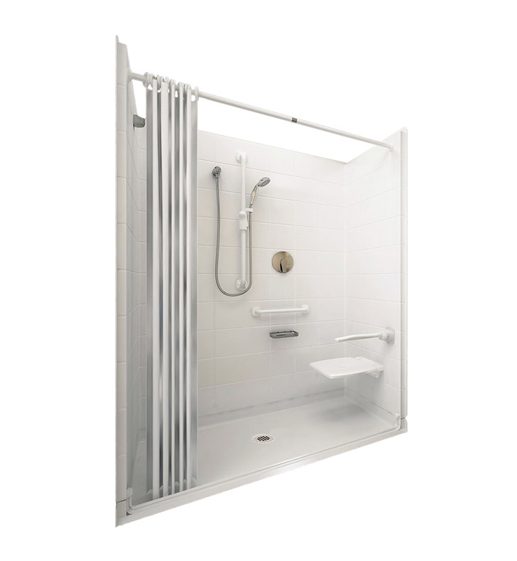 "Ella 6030BF5P-ELW.75C-WH Elite White Barrier Free Roll In Shower Kit - 60"" x 30"" With Finish: White And Drain Position: Center Drain"