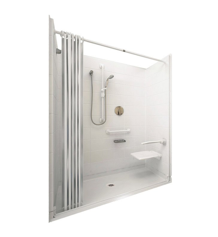 "Ella 6030BF5P-ELW1.0R-BN Elite White Barrier Free Roll In Shower Kit - 60"" x 30"" With Finish: Bone And Drain Position: Right Side Drain"