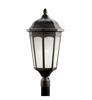 Kichler 11015RZ Courtyard Collection Outdoor Post Mount 1 Light Fluorescent in Rubbed Bronze