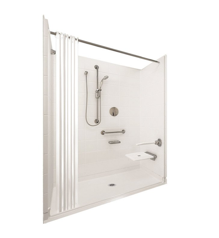 "Ella 6030BF5P-ELB.75C-B Elite Brilliant Barrier Free Roll In Shower Kit - 60"" x 30"" With Finish: Biscuit And Drain Position: Center Drain"