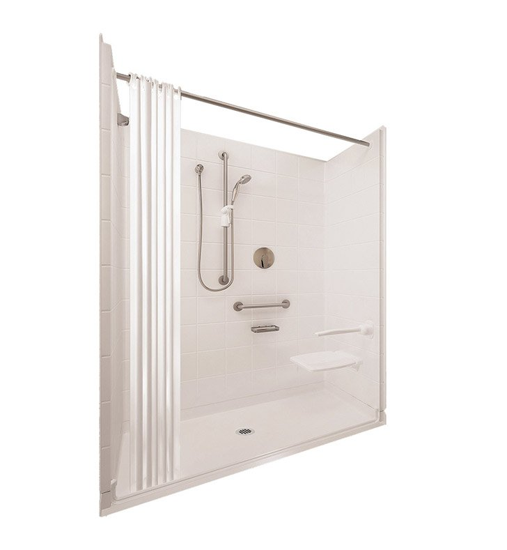 "Ella 6030BF5P-ELS.75C-B Elite Satin Barrier Free Roll In Shower Kit - 60"" x 30"" With Finish: Biscuit And Drain Position: Center Drain"
