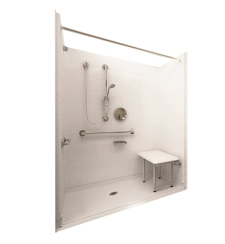 "Ella 6036BF5P-DLX.875C-BN Deluxe Barrier Free Roll In Shower Kit - 60"" x 36"" With Finish: Bone And Drain Position: Center Drain"