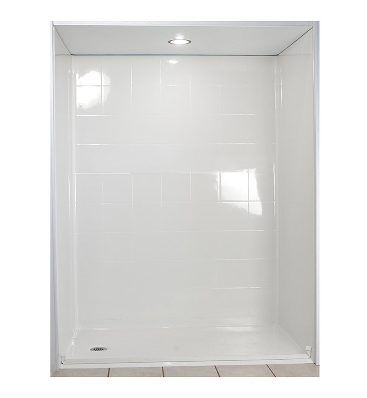 "Ella 6030BF5P-STD1.0R-WH Standard Barrier Free Roll In Shower Kit - 60"" x 30"" With Finish: White And Drain Position: Right Side Drain"