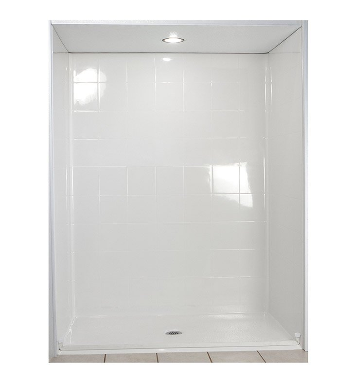 "Ella 6033BF5P-STD.75C-WH Standard Barrier Free Roll In Shower Kit - 60"" x 33"" With Finish: White And Drain Position: Center Drain"