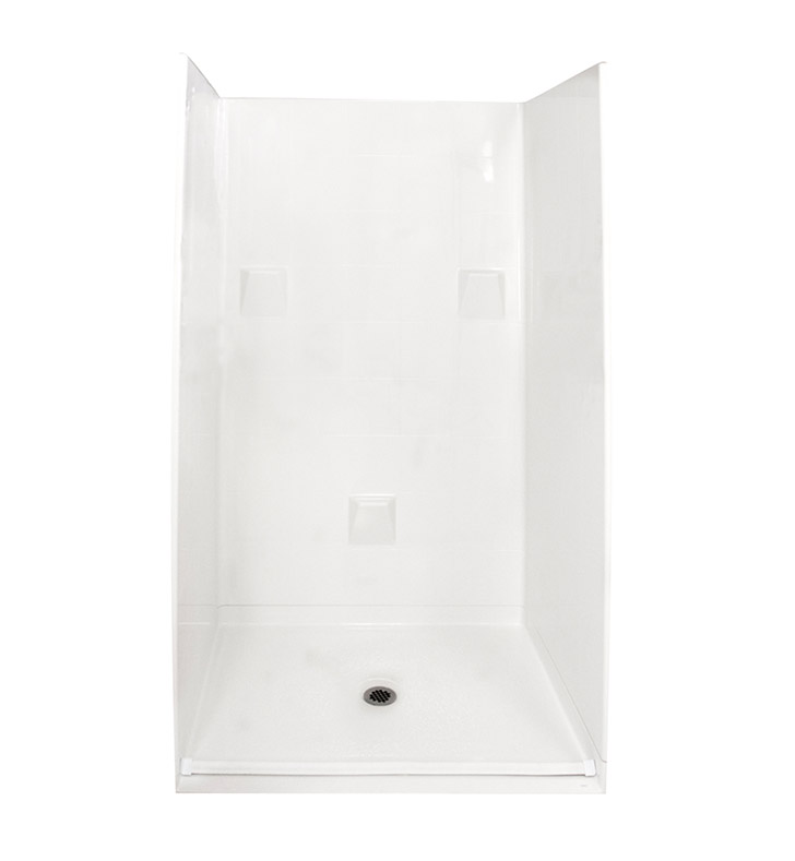 "Ella 4836BF4P.875C-STD-WH Standard Barrier Free Roll In Shower Kit - 48"" x 37"" With Finish: White"