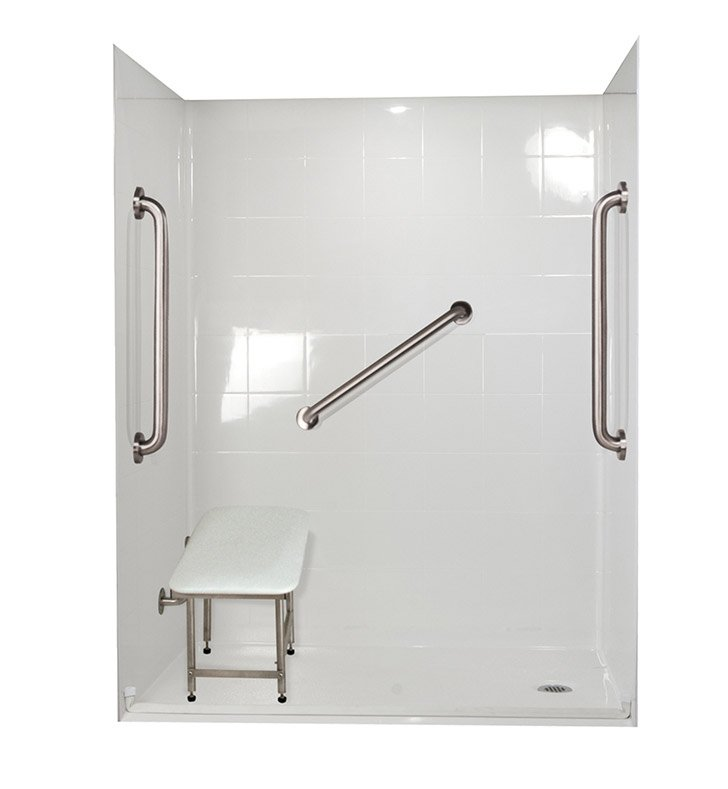 "Ella 6033BF5P-SP241.0R-BN Standard Plus 24 Barrier Free Roll In Shower Kit - 60"" x 33"" With Finish: Bone And Drain Position: Right Side Drain"