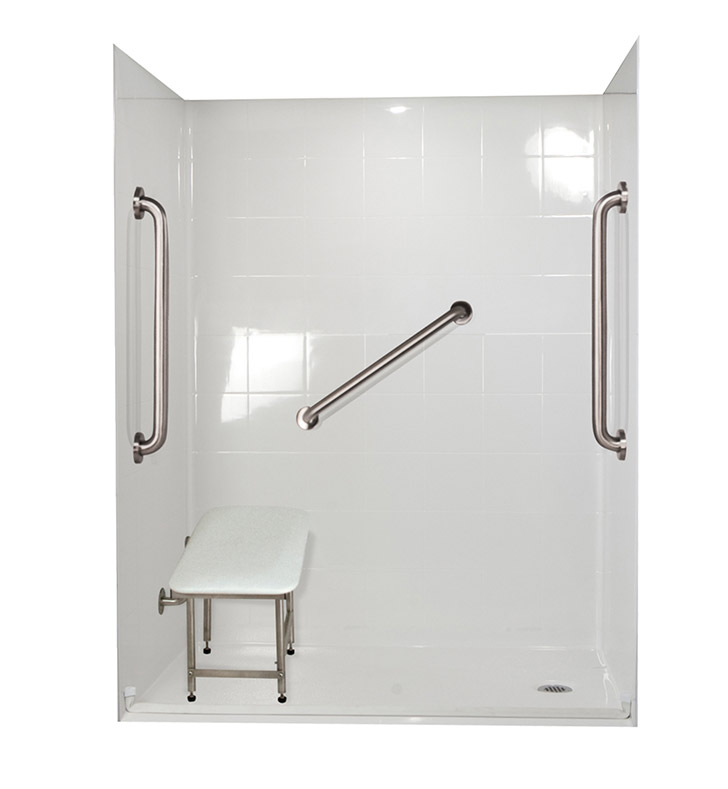 "Ella 6036BF5P-SP241.0R-BN Standard Plus 24 Barrier Free Roll In Shower Kit - 60"" x 36"" With Finish: Bone And Drain Position: Right Side Drain"