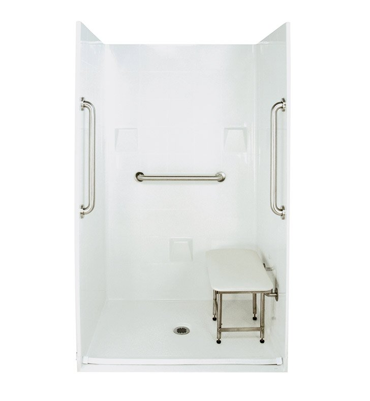 "Ella 4836BF4P.875C-SP24-B Standard Plus 24 Barrier Free Roll In Shower Kit - 48 x 37"" With Finish: Biscuit"