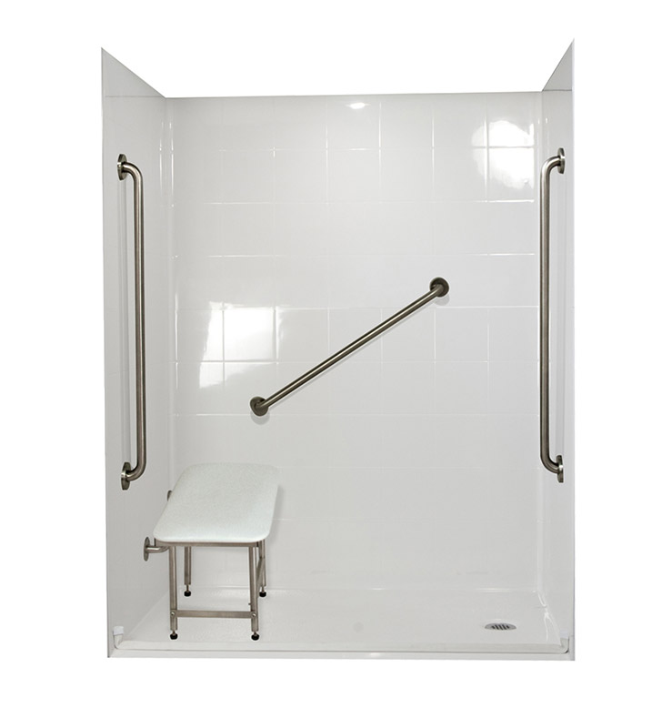 "Ella 6030BF5P-SP361.0L-WH Standard Plus 36 Barrier Free Roll In Shower Kit - 60"" x 30"" With Finish: White And Drain Position: Left Side Drain"