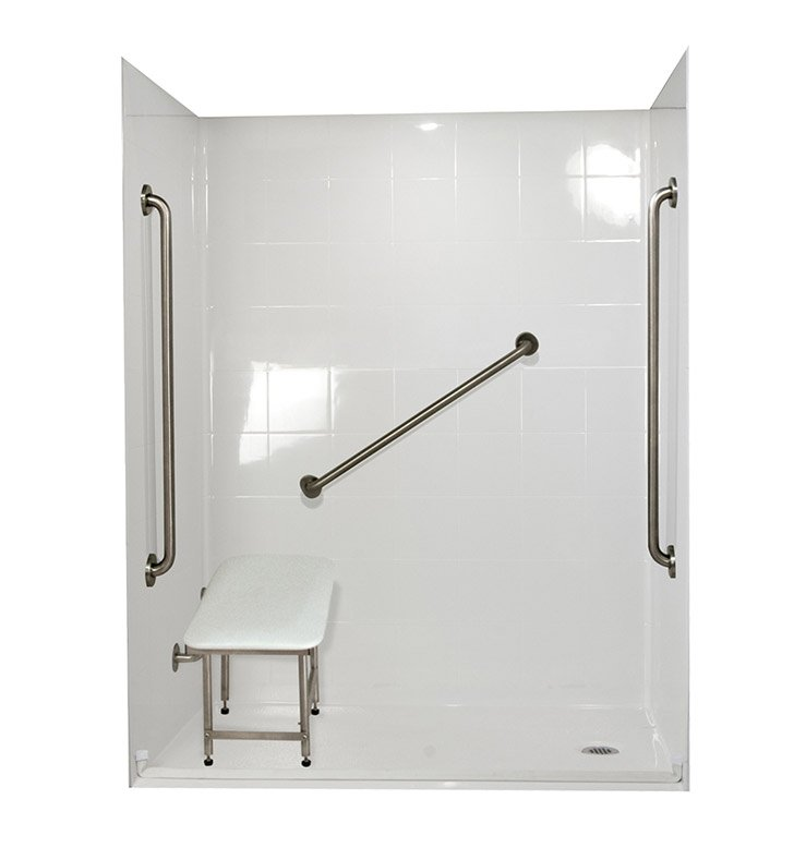 "Ella 6030BF5P-SP361.0R-B Standard Plus 36 Barrier Free Roll In Shower Kit - 60"" x 30"" With Finish: Biscuit And Drain Position: Right Side Drain"