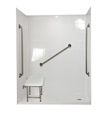 "Ella 6030BF5P-SP361.0L-BN Standard Plus 36 Barrier Free Roll In Shower Kit - 60"" x 30"" With Finish: Bone And Drain Position: Left Side Drain"