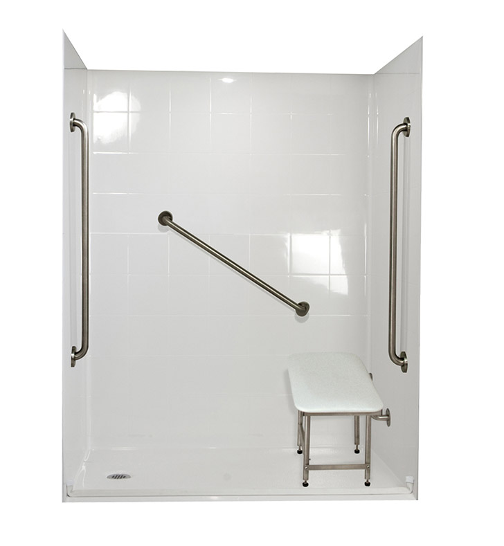 "Ella 6036BF5P-SP361.0R-B Standard Plus 36 Barrier Free Roll In Shower Kit - 60"" x 36"" With Finish: Biscuit And Drain Position: Right Side Drain"