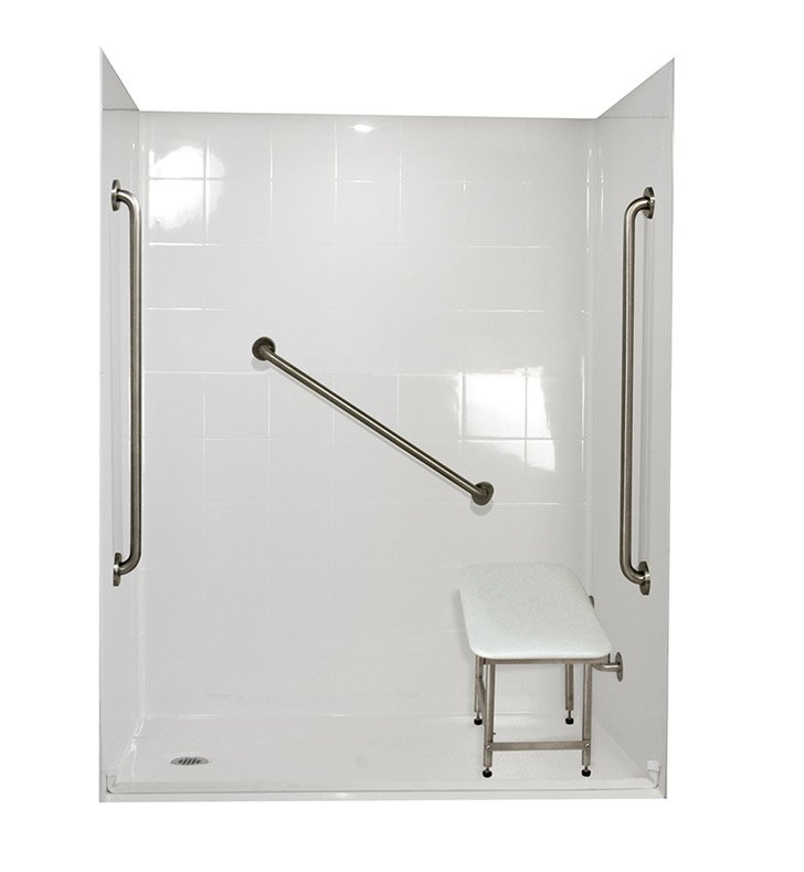 "Ella 6036BF5P-SP36.875C-B Standard Plus 36 Barrier Free Roll In Shower Kit - 60"" x 36"" With Finish: Biscuit And Drain Position: Center Drain"