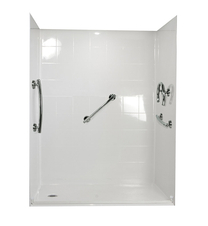 "Ella 6030BF5P-FRDM1.0R-B Freedom Barrier Free Roll In Shower Kit - 60"" x 30"" With Finish: Biscuit And Drain Position: Right Side Drain"