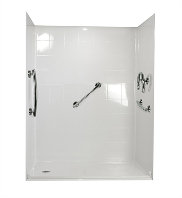 "Ella 6033BF5P-FRDM1.0L-WH Freedom Barrier Free Roll In Shower Kit - 60"" x 33"" With Finish: White And Drain Position: Left Side Drain"