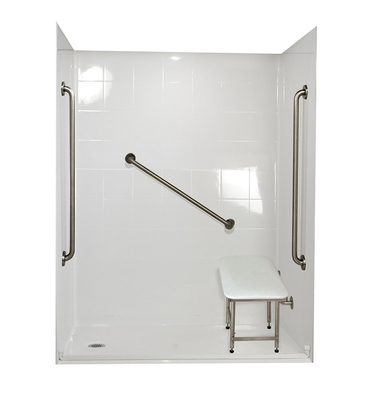 "Ella 6036BF5P-FRDM Freedom Barrier Free Roll In Shower Kit - 60"" x 36"""