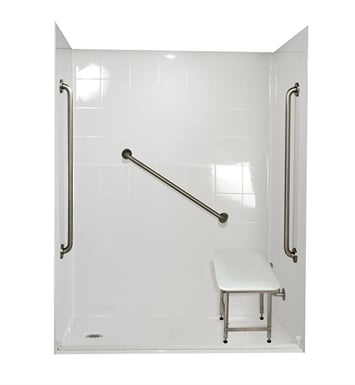 "Ella 6036BF5P-FRDM1.0L-BN Freedom Barrier Free Roll In Shower Kit - 60"" x 36"" With Finish: Bone And Drain Position: Left Side Drain"