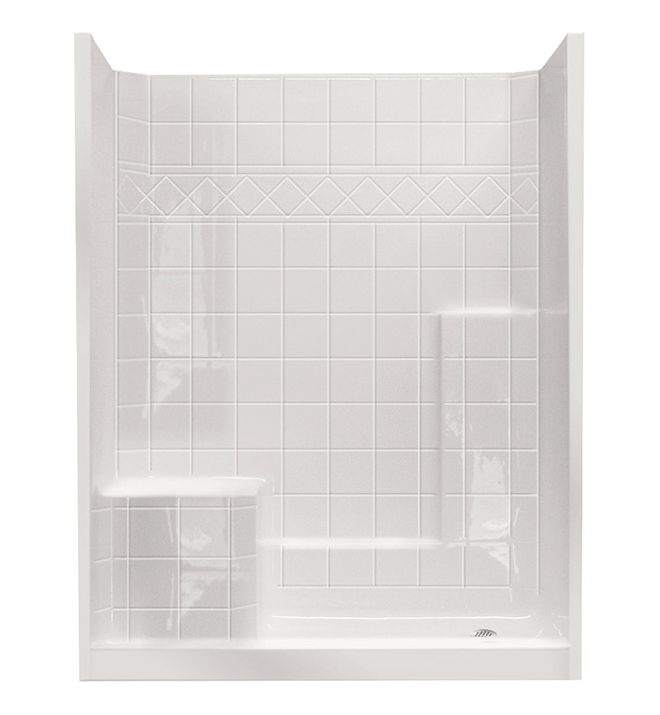 "Ella 6032SHIS3P-STD4.0L-BN Standard Low Threshold Shower Kit - 60"" x 33"" With Finish: Bone And Drain Position: Right Side Drain with Left Side Seat"