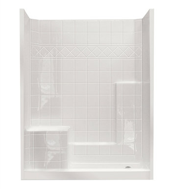 "Ella 6032SHIS3P-STD4.0L-WH Standard Low Threshold Shower Kit - 60"" x 33"" With Finish: White And Drain Position: Right Side Drain with Left Side Seat"