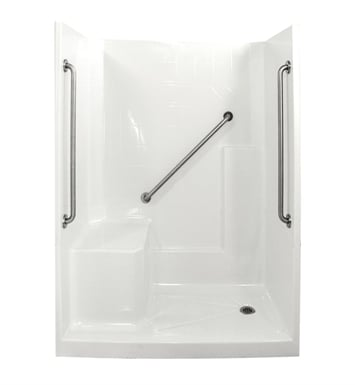 "Ella 6032SHIS3P-SP364.0L-WH Standard Plus 36 Low Threshold Shower Kit - 60"" x 33"" With Finish: White And Drain Position: Right Side Drain with Left Side Seat"