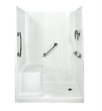"Ella 6032SHIS3P-FRDM4.0L-B Freedom Low Threshold Shower Kit - 60"" x 33"" With Finish: Biscuit And Drain Position: Right Side Drain with Left Side Seat"
