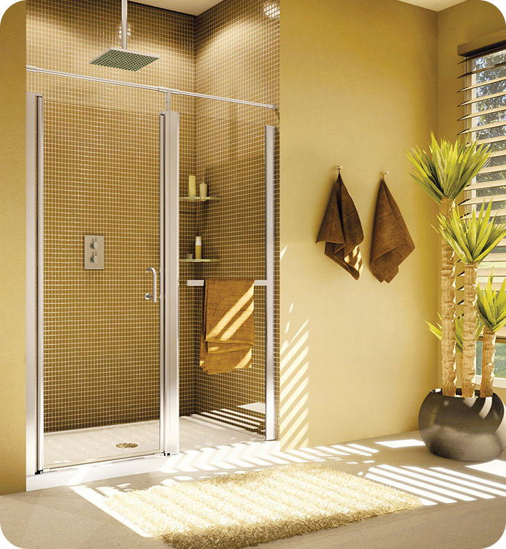 Fleurco E4143-11-40 Banyo Sevilla In Line 41-43 Semi Frameless In Line Pivot Door With Hardware Finish: Bright Chrome And Glass Type: Clear Glass