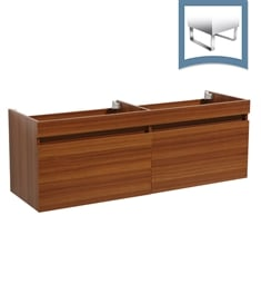 "Fresca FCB8040TK Largo 57"" Teak Modern Double Sink Bathroom Cabinet"