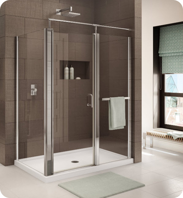 Fleurco E4832-25-50 Banyo Sevilla In Line 4832 Semi Frameless In Line Pivot Door with Return Panel With Hardware Finish: Brushed Nickel And Glass Type: Paris Point Glass (Frosted)